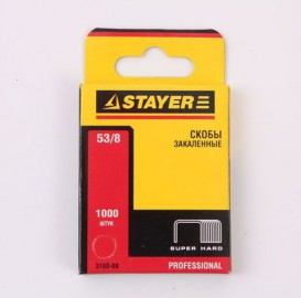 Скобы STAYER тип53, красные, 8мм, 1000шт.