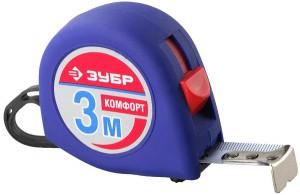 Рулетка ЗУБР комфорт 3м*16мм обрезиненный корпус