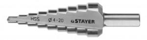 Сверло STAYER МАСТЕР ступенчатое d4-20мм, 9 ступеней