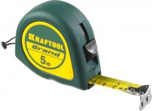 Рулетка KRAFTOOL 5м/19мм обрезинная пластиковый корпус
