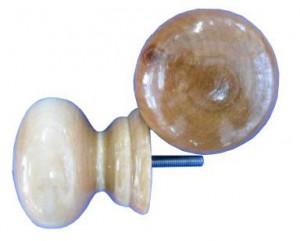 Ручка-кнопка дверная деревянная 1-0710 лак светлая большая