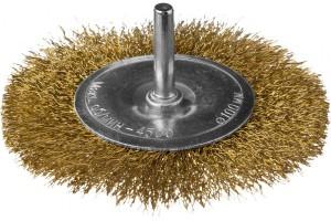 Щетка Dexx дисковая со шпилькой 100мм витая латунированная проволока 0,3мм