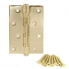 Петля Аверс 100*70-В4-G золото, универсальная, 4 подшипника + саморезы