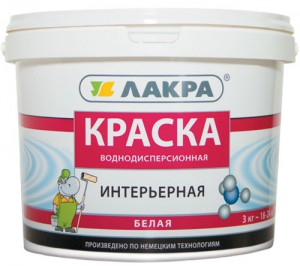 Краска интерьерная белая Лакра, 3 кг. (ведро)