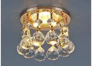 Светильник  ES 2051-C MR16 GD белый (хрусталь/золото)