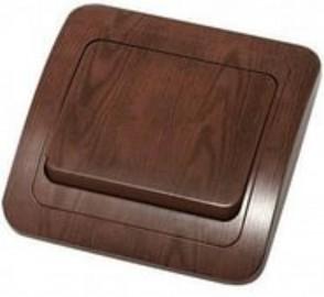 Выключатель 1 клавишный СП Мимоза орех/орех Makel 24001