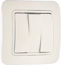 Выключатель 3-клавишный СП Lillium белый 71091