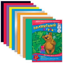 Картон цветной, КТС, формат А4, 10 листов, 8 цветов (золотой, серый), Волшебный С10001007