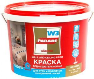 Краска Парад 10л W3 влагостойкая белая матовая