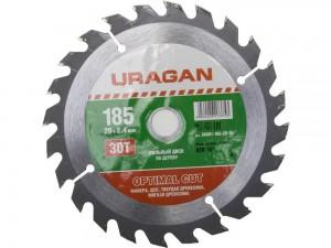 Диск пильный URAGAN 185*20мм 30Т оптимальный рез по дереву