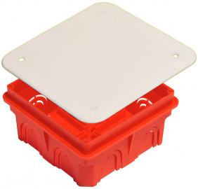 Коробка разветвительная  с крышкой для сплошных стен (102*102*50мм), IP20