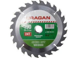 Диск пильный URAGAN 190*20мм 24Т по дереву